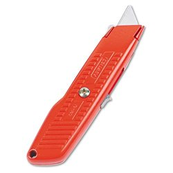Interlock Safety Utility Knife W/Self-Retracting Round Point Blade, Orange