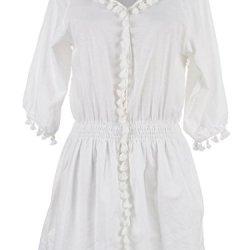 Anna-Kaci S/M Fit White Pom Pom Tassles Embellished Edges Knife Pleat Dress