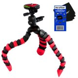 12-Flexible-Wrapable-Legs-Tripod-with-Quick-Release-Plate-and-Bubble-Level-RedBlack-for-Sony-Alpha-SLT-A37-SLT-A58-SLT-A65-SLT-A77-Digital-SLR-Cameras-w-HeroFiber-Ultra-Gentle-Cleaning-Cloth