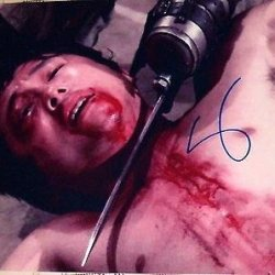 "Steven Yeun Signed Autograph ""Walking Dead"" Rare Bloody Knife Throat P"