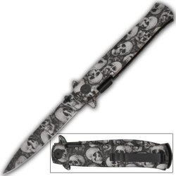 Silver & Black Skull Blade Milano Zombie Godfather Style Spring Assist Opening Pocket Knife