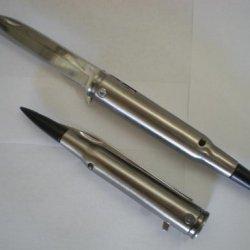 .50 Cal Bullet Black Tip Spring Assist Opening Pocket Knife 50 Caliber M-60
