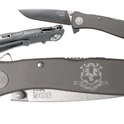 Ct Connecticut State Seal Custom Engraved Sog Twitch Ii Twi-8 Assisted Folding Pocket Knife By Ndz Performance