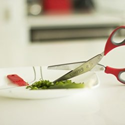 Herb Kitchen Scissors (Shears) With 5 Stainless Steel Blades By Comfify - Burgundy Red & Grey Color