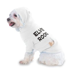 Elvis Rocks Hooded (Hoody) T-Shirt With Pocket For Your Dog Or Cat Xs White