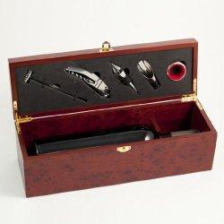 Bottle Holder And Bar Gift Set In Presentation Wood Box