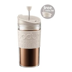 Bodum Travel Press Set - Coffee Maker With Extra Lid 0.35L (12Oz) Off White