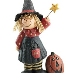 Craft Outlet Papier Mache Witch And Pumpkin Figurine, 9-Inch