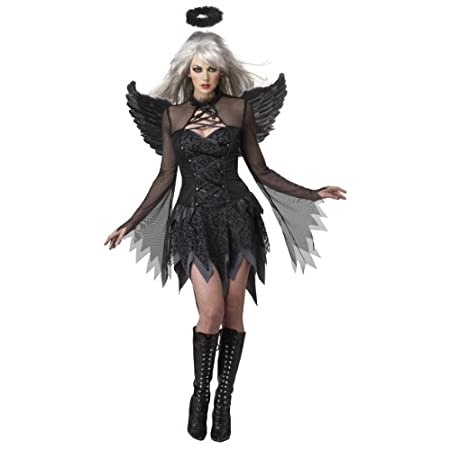 Slightly devilish / the fallen angel costume is highlighted by a sexy lace-up neck line and dramatic tattered sleeves in slinky black mesh. Another stylish feature is the flocked mesh overlay with slimming curved princess seams for an added hourglass...