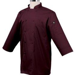 Chef Works Jlcl-Mer-M Basic 3/4 Sleeve Chef Coat, Merlot, Medium