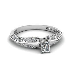 Fascinating Diamonds 1.1 Ct Radiant Cut Diamond Knife Edge Split Band Engagement Ring Pave Set 14K Gia