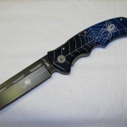 M-Tech Razor Blade Blue Spider Handle Folder Pocket Knife