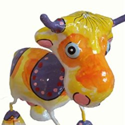 Paper Mache Animal Doll - 6 Inch - Ready To Decorate - Hand Made - Pm-Cow-Yl-6-1