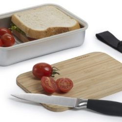 Black And Blum Aluminium Pack Up Sandwich Lunch Box Bamboo Chopping Board Lid Silver/Grey - Sb001