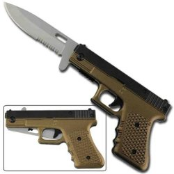 Fully Loaded Spring Assisted Pistol Knife - Green Beret
