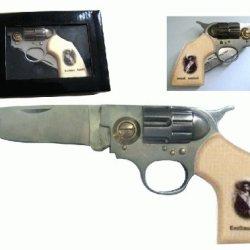 Legend Of General Emiliano Zapata Salazar Straight Shooter Pocket Gun Revolver Folding Knife