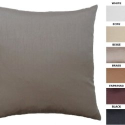 "Dreamhome - Solid Faux Silk Decorative Pillow Cover/Sham, 18"" X 18"" - Beige"
