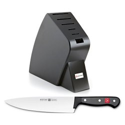 Wusthof Black Studio 6-Slot Knife Block With Gourmet Steel 8 Inch Cook'S Knife
