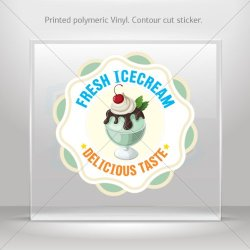 Decals Decal Ice Cream Shop Decor Fresh Ice Cream Tablet Laptop Weatherproof (30 X 30 In)