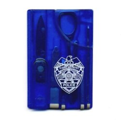 New Gift: Policeman / Sheriff Credit Card Tool Card Police Man Law Enforcement Swiss Style All In One Survival Army Survival Card Multi Tool Function Tool Card Knife Pen Scissors Tweezer Ruler Toothpick Pin!!Fits In Your Pocket Blue