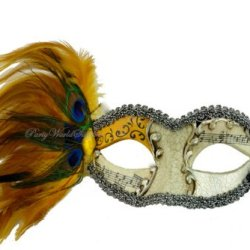 Masquerade Mask Yellow Peacock Feather Venetian Prom Party Eye Mask