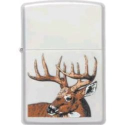 Zippo Lighters 23481 Whitetail Buck Deer Logo Zippo Lighter With Satin Chrome Finish