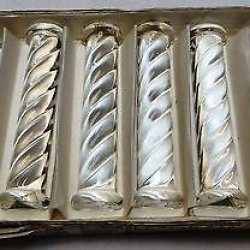 Complete Vintage Set 6 Cut Crystal 24% Knife Rest In Original Box Table Ware