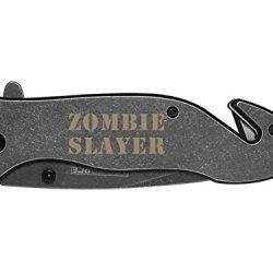 Zombie Slayer Text 2L Engraved Tac-Force Tf-811Sb Speedster Model Folding Pocket Knife By Ndz Performance