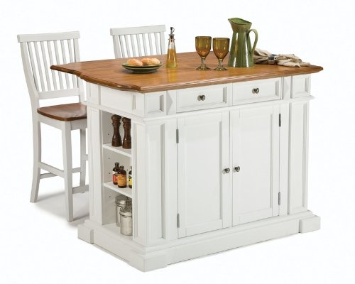 Image of 3pc Kitchen Island and Stools Set in White and Oak Finish (VF_HY-5002-948)