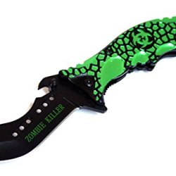 "8"" Green & Black Zombie Killer Spring Assisted Knife With Belt Clip"