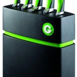 Richardson Sheffield 5-Piece Gripi Knife Set With Wooden Block, Green