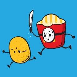 """""""French Fried Jason"""" Funny Horror Film Parody - Vinyl Sticker"""
