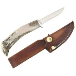 Silver Stag Knives 0505 Mini Patch Fixed Blade Knife With Crown Stag Handle
