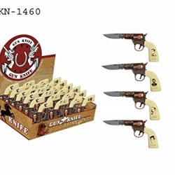 Pocket Gun Shaped Mini Folding Knife, Western Hero, Set Of 4