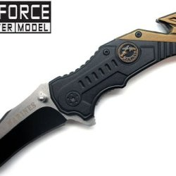 """3"""" Two-Tone """"Marines"""" Spring Assisted Tactical Rescue Knife - Black & Brown"""