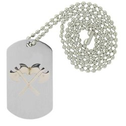 Military Emblem Dog Tag W/ Metal Chain Necklace - Military Vehicle & Weapons Pins - Military Weapon & Knife Pins - Crossed Battle Axes