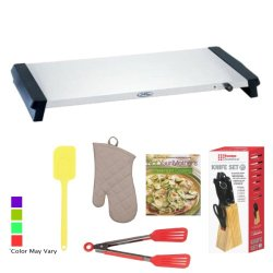 Broilking Nwt-28S Professional Large Warming Tray W/ Stainless Heating Surface + Home Basics Knife Set 7-Piece W/ Pine Block (Stainless Steel) + Accessory Kit