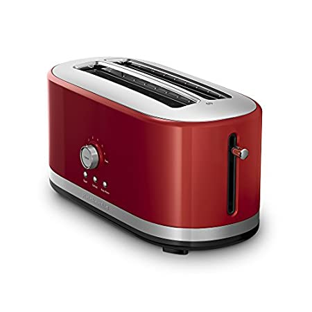 Make a statement on your counter with the newly designed KitchenAid 4-Slice Toaster, which accommodates a variety of shapes and sizes of Artisan breads. This toaster features 7 shade settings, including Bagel, Defrost, Reheat and Keep Warm. A high li...