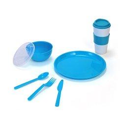 Pfaltzgraff Polypropylene Back To School Set In Mesh Bag, Blue