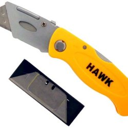 "6.5"" Folding Utility Knife With Comfort Grip Handle, And Easy To Change, 5 Extra Blades"