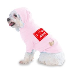 I Love My Aunt Hooded (Hoody) T-Shirt With Pocket For Your Dog Or Cat Size Small Lt Pink