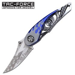 "3"" ""Born Free"" Spring Assisted Motorcycle Knife - Blue"
