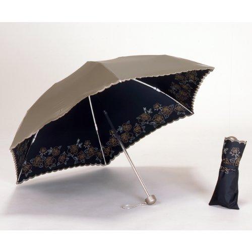 UVカット 晴雨兼用 遮光 日傘/折傘 アンティークゴールド<ひんやり傘> 折りたたみ