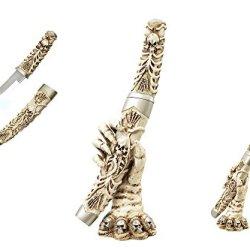 "Skeleton Hand Knife Holder W/ Skulls Kitchen Halloween Decor 11.75"""