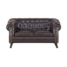 2-Sitzer-Chesterfield-Sofa-Couch-Garnitur-ENIO-Kunstleder-in-antikbraun-Holzfe-englischer-Stil