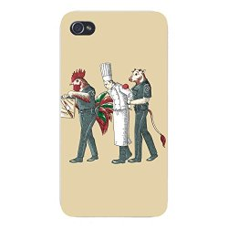 "Apple Iphone Custom Case 5 / 5S White Plastic Snap On - ""Murder Chef"" Funny Vegetarian Humor Chicken & Cow Police"