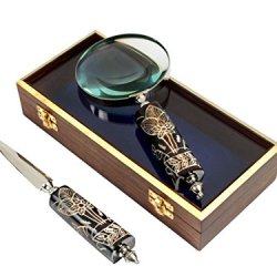 Brass Plated Letter Or Envelope Opener & Magnifier Magnifying Glass With Resin Handle, Display Desk Accessories