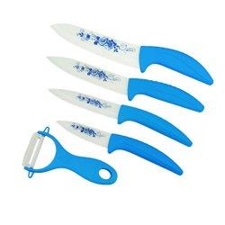 "Kitchen Ceramic Fruit Knife Set Kit 3"" 4"" 5"" 6"" Inch With Peeler Covers"