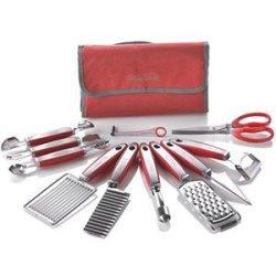 New Wolfgang Puck 12 Pc Garnish Essentials Set With Storage Case (Red)