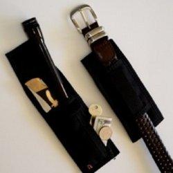 Black Belt Sheath Holds Mini-Flashlight / Folding Knife / Made In Usa